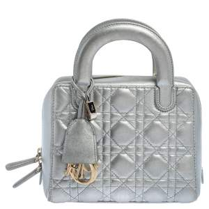 Dior Silver Cannage Leather Lily Bag