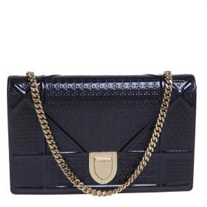 Dior Violet Micro Cannage Patent Leather Diorama Wallet on Chain