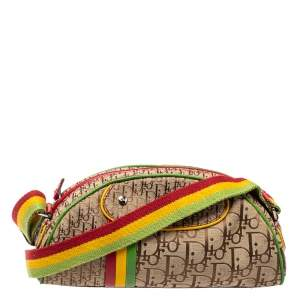Dior Multicolor Oblique Canvas Rasta Trotter Bowler Bag