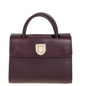 Dior Burgundy Pebbled Leather Mini Diorever Tote