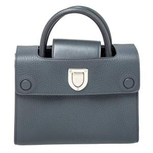 Dior Grey Pebbled Leather Mini Diorever Tote