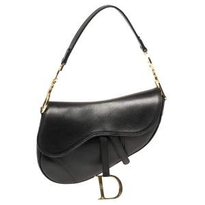 Dior Black Leather Saddle Bag