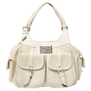 Dior Vanilla Oblique Canvas and Leather Multi Pocket Shoulder Bag