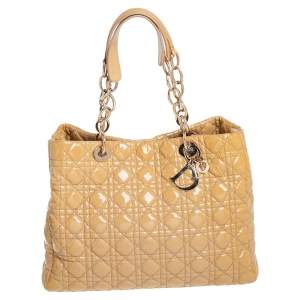 Dior Beige Cannage Patent Leather Soft Lady Dior Shopper Tote