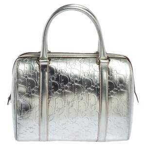 Christian Dior Metallic Silver Oblique Monogram Leather Boston Bag