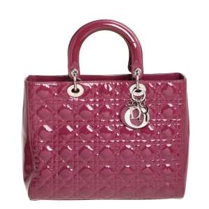 Dior Dark Rose Cannage Patent Leather Large Lady Dior Tote