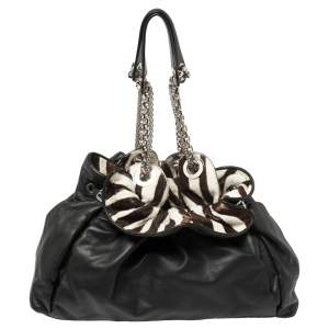 Dior Black/White Zebra Print Calfhair and Leather Le Trente Hobo