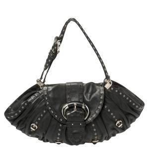 Dior Black Leather and Lizard Grommet Buckle Flap Hobo
