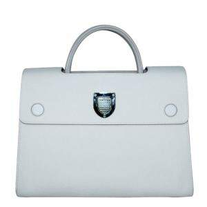 Dior White Leather Diorever Medium Top Handle Bag