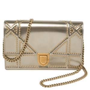 Dior Metallic Gold Patent Leather Diorama Flap Shoulder Bag