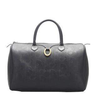 Dior Black Leather Vintage Diorissimo Duffel Bag