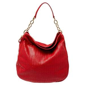 Dior Red Woven Leather Soft Lady Dior Hobo