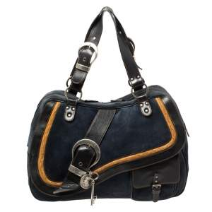 Dior Navy Blue Suede and Leather Large Double Saddle Shoulder Bag