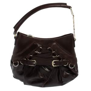Dior Dark Brown Leather Mini Corset Hobo