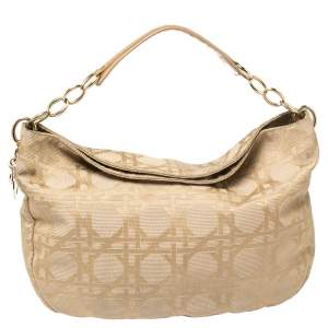 Dior Beige Cannage Canvas Lady Dior Hobo