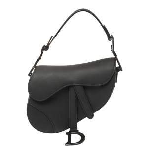 Dior Black Leather Ultramatte Mini Saddle Shoulder Bag