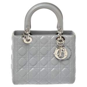 Dior Grey Cannage Leather Medium Lady Dior Tote