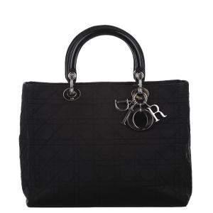 Dior Black Nylon Cannage Lady Dior Bag