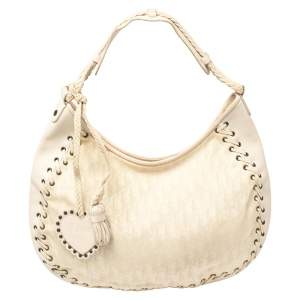 Dior Cream Oblique Canvas and Leather Ethnic Hobo