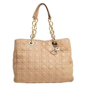 Dior Beige Cannage Leather Soft Lady Dior Shopper Tote