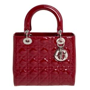 Dior Red Cannage Patent Leather Medium Lady Dior Tote