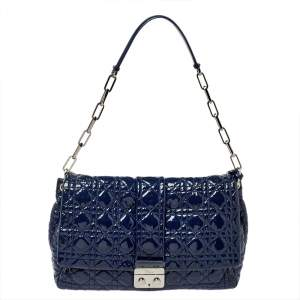 Dior Navy Blue Cannage Patent Leather Large New Lock Flap Shoulder Bag
