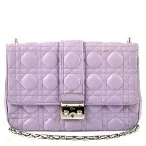 Christian Dior Purple Cannage leather Miss Dior Large Flap Bag