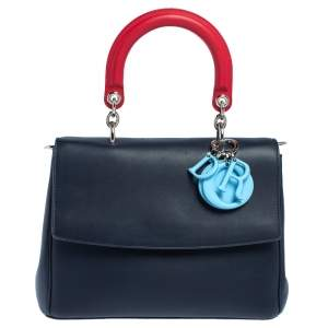 Dior Two Tone Blue Leather Small Be Dior Flap Top Handle Bag
