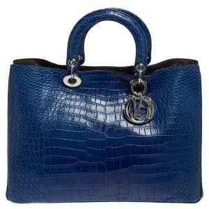 Dior Blue Crocodile Large Diorissimo Shopper Tote