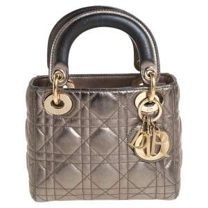 Dior Metallic Cannage Leather Mini Lady Dior Tote