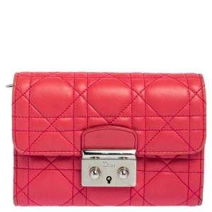 Dior Pink Grey Cannage Leather Miss Dior Explorateur Wallet