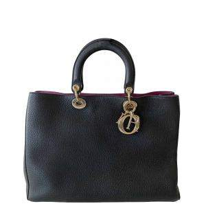 Christian Dior Black Leather Diorissimo Large Bag