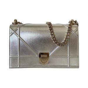 Christian Dior Metallic Silver Diorama Medium Shoulder Bag