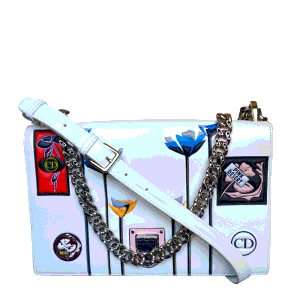 Dior White Leather Medium Paradise Diorama Shoulder Bag
