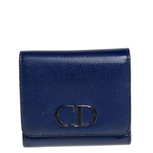 Dior Blue Patent Leather Mania Compact Wallet