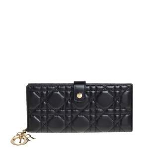 Dior Black Cannage Leather Lady Dior Long Bifold Wallet
