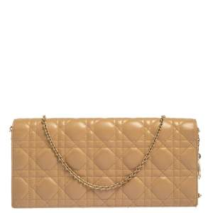 Dior Beige Cannage Leather Lady Dior Chain Clutch