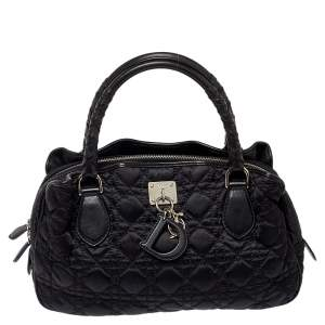 Dior Black Cannage Quilted Nylon and Leather Charming Satchel