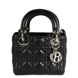 Dior Black Cannage Leather Lady Dior Mini Bag