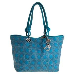 Dior Blue Cannage Print Coated Canvas and Leather Lady Dior Tote