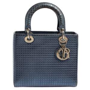 Dior Metallic Blue Microcannage Leather Medium Lady Dior Tote