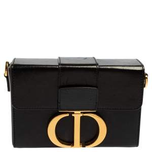 Dior Black Leather 30 Montaigne Box Bag