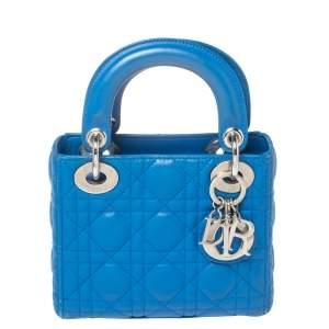 Dior Blue Cannage Leather Mini Lady Dior Tote