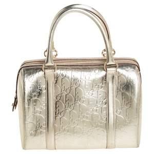 Dior Metallic Metallic Gold Oblique Monogram Leather Boston Bag