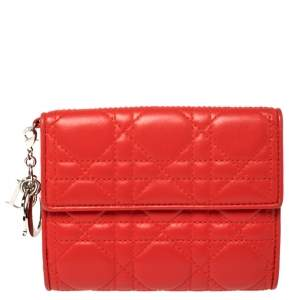 Dior Red Cannage Quilted Leather Lady Dior French Wallet