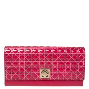Dior Pink Cannage Patent Leather Flap Continental Wallet