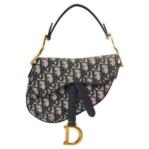 Dior Blue Diorissimo Canvas and Leather Mini Saddle Shoulder Bag