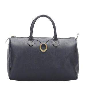 Dior Black Leather Canvas Boston Bags
