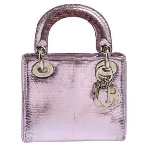 Dior Metallic Purple Lizard Mini Lady Dior Tote