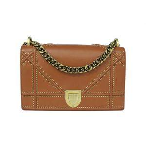 Dior Brown Leather Diorama Shoulder Bag